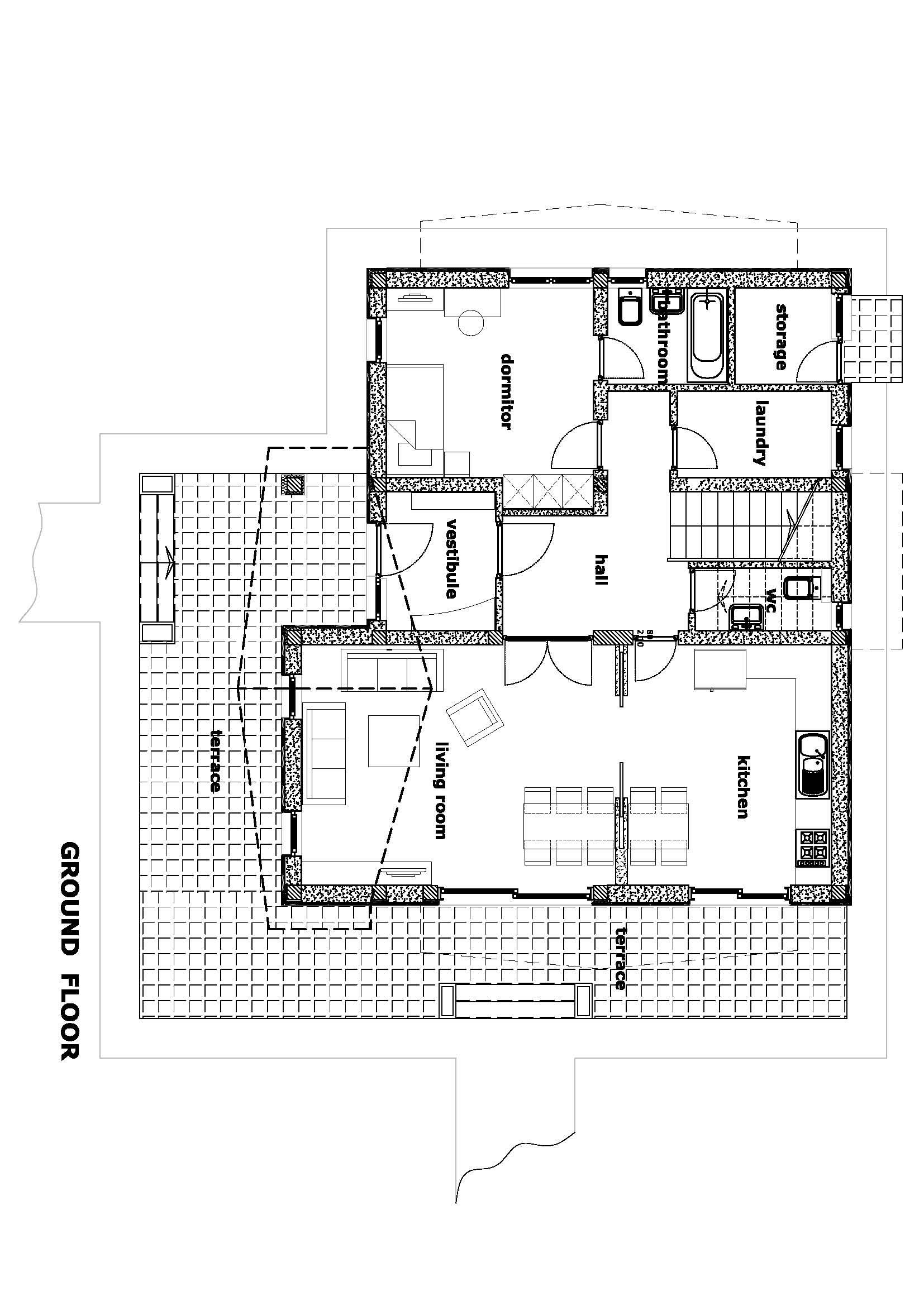 plan parter casa de mici dimensiuni in Otopeni