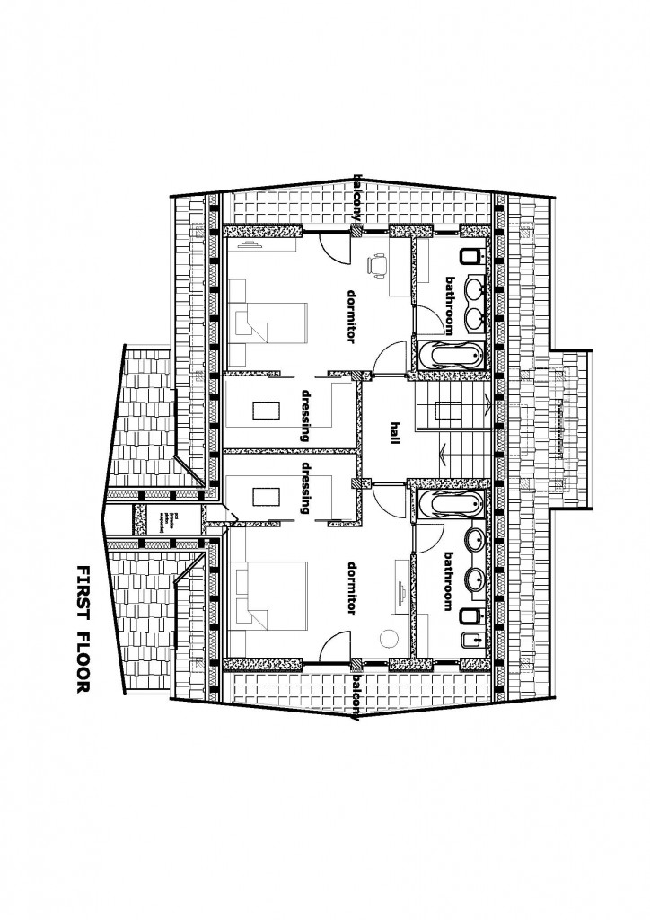 plan etaj, casa de mici dimensiuni in Otopeni